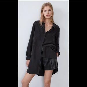 ZARA Modal Black Asymmetrical Tunic Shirt sz XS
